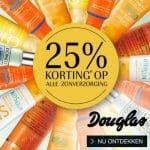 25% korting op alle zonverzorging bij Douglas